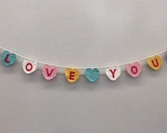 Valentine Heart Garland, Conversation Hearts, Heart Bunting
