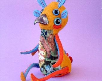 Helakka Henki - Handmade Art Doll -OOAK hand sewn soft sculpture - strange bird beaked spirit animal creature monster vintage needlepoint