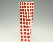 Red Polka Dot Ceramic Flower Vase, Tall Modern Pottery Vase, Polka Dot Twisted Vase, Red Dotted Vase, Office Desk Accessories