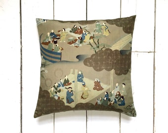 Japanese Vintage Kimono Silk Fabric Picture Pillow Cushion 'Samurai'
