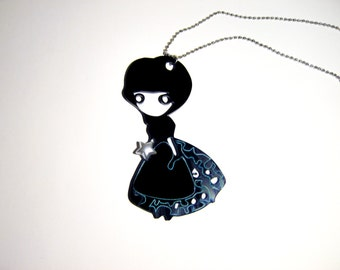 Black Doll Pendant, Silhouette Pendant, Laser Perspex Pendant, creative jewelry