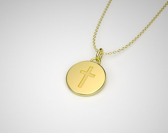 Solid Gold Tiny Cross Necklace -  14k, 18k Yellow, Rose, White Gold & Platinum. TINY TALISMANS™ Line of Spiritual Jewelry