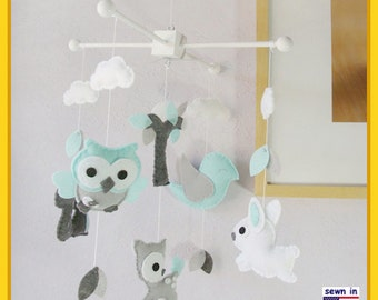 Woodland Mobile, Baby Mobile, Owls & Birds Mobile, Owl Squirrel Deer Bird Bunny, White Grey Turquoise , Custom Mobile