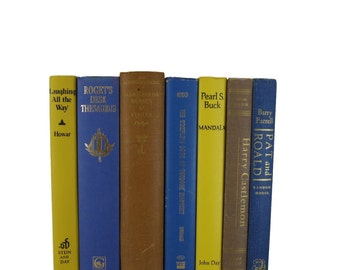 Blue Brown  Yellow Books,  Home Decor,  Vintage Books, Old Books,  Book Sets,  Wedding Decor,  Book Lover Gift,  Book Stack, Book Collection