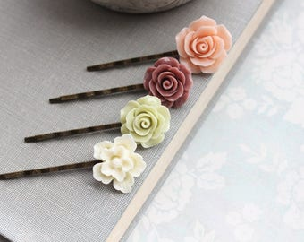 Peach Rose Bobby Pins Light Green Flower Hair Pins Dusty Rose Ivory Cream Floral Hair Accessories Hair Clips Bridesmaids Gift Set of Four