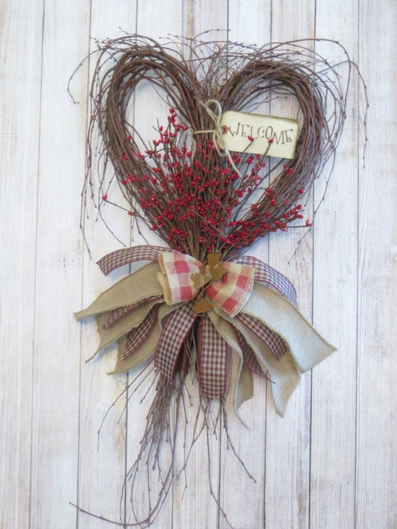 rustic heart primitive heart twig heart rustic decor