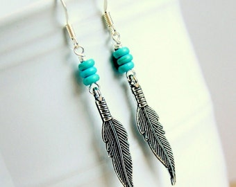 feathers beaded charm earrings, turquoise, silver charm, boho, bohemian, southwestern, silver earrings