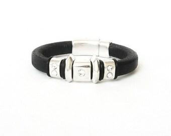 Leather Bracelet, Black Leather Bracelet, Silver Black Leather Bracelet, Silver Leather Bracelet, Black Leather