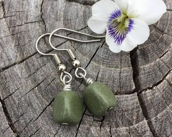 Green Serpentine . Earrings