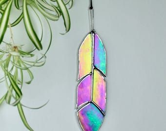 Iridescent Stained Glass Feather