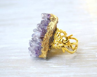 Amethyst Cluster Ring, Purple Druzy Ring, Large Amethyst, Raw Crystal Jewelry, Gold Plated Filigree Ring