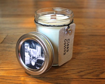 Clean Cotton Soy Candle - Plantable Tag - 8 oz. Soy Candle - Woodwick Candle - Wildflower Seeds - Americana - Goat - Home Decor