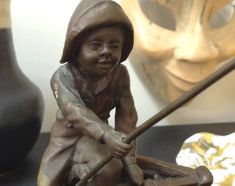 Vintage M.Kratz Bronze Sculpure ~ Boy Fishing Sculpure ~ Fisherman Statue ~ 1950 Midcentury ~ Midcentury Modern ~ Collectible ~Sequin Garden