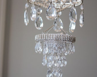 Princess Mobile Girl's Nursery Pink Rhinestone Crystal Chandelier Blush Baby Bling Diva Vintage Sparkly Whimsical Queen Crown Crib Couture