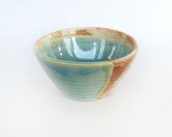Mini Ceramic Bowl. Aqua Pottery Bowl. Handmade Pottery.