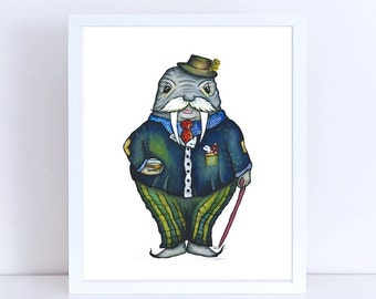 Mr. WALRUS  - ART PRINT  - Illustration, home decor, kitchen art, nursery art, gift for kids, fathers day, gentlemens club, country club