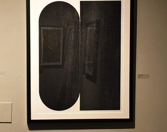 "Large Etching . Minimalist . Geometric . Black and White: ""Twill "". Size 20"" x 26"". unframed"