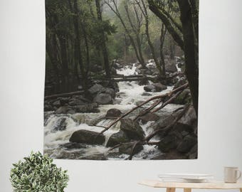 Forest Wall Tapestry, California Decor, Nature Tapestry, Mountain Theme Home, Nature Tapestry, Yosemite, Mountains River Stream Foggy