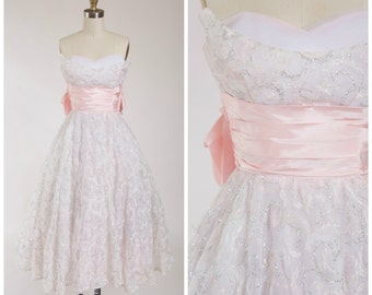 Vintage 1950s Dress • Blush Blooms • Pale Pink Strapless 50s Party Dress with Metallic Silver Skirt Size Small