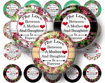 Mother, Daughter, 1.5 Inch Circles, Digital Collage Sheet, Instant Download, Printable, Saying, Quote, Shabby Floral, Round Images,