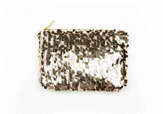 Petite Gold Sequin Clutch. Gold Wedding Clutch. Metallic Gold Clutch. Small Gold Pouch. Gold Evening Bag