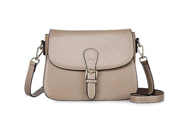 Small beige leather buckle cross body bag