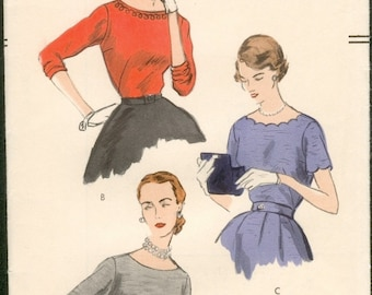 Neat Vintage 1950s Vogue 7534 Scoop Neck Tuck-In Blouse Optional Scallops Sewing Pattern B34