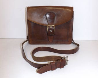 Vintage real brown leather shoulder handbag bag satchel excellent quality by Douglas Adam