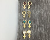 Female Symbol Earrings in Brass // Moonstone, Garnet, Turquoise // 20% Donated to Planned Parenthood