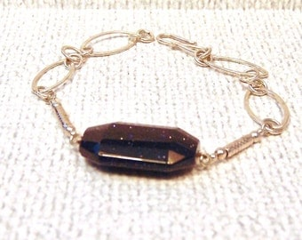 Sale! Sterling Silver Handmade Blue Goldstone Link Bracelet