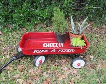 Cheez It Radio Flyer Vintage Advertising Little Red Wagon Yard Art Garden Decor Beach Cottage Rustic Child's Pull Toy