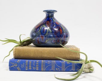 Ceramic Drip Glaze Pottery Vase, Royal Blue / Navy / Red, Home Decor