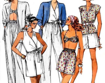 1980s Summer Wardrobe, Unlined Jacket, Wrap-Top, Bra, Pants, Shorts, McCalls 4310 Size Small 10-12,EASY SEW Summer Beach Wear Pattern, UNCUT