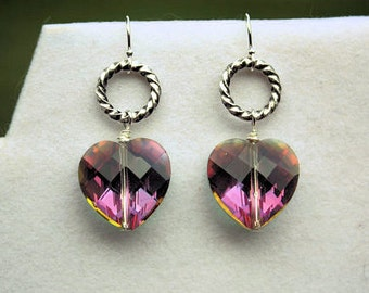 Crystal Heart Earrings, Valentines Day, Heart Jewelry, Love Jewelry, Gift for Her