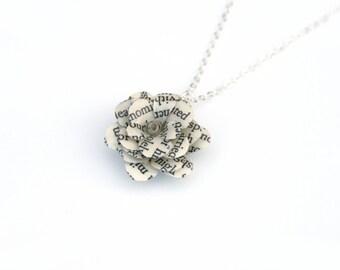 Book Flower Necklace, Book Gift, Stocking Filler - Jane Eyre, Pride & Prejudice, Harry Potter, Alice In Wonderland - book worm, book lover