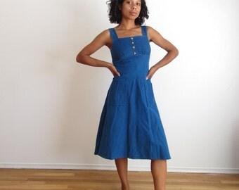Vintage blue corduroy dress