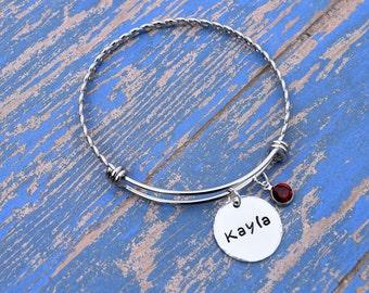 Custom name bracelet | Name bangle | Birthstone bracelet | Gifts for her | Personalized birthstone bracelet |