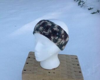 Camo Crochet Headband, Ear Warmer with Flower Clip -- READY TO SHIP -- Free Shipping