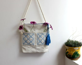 Shoulder bag,bohemian handbag,Vegan tote bag,embroidered mosaic tile,rope straps,blue talavera crossbody,cotton canvas,tassel.gift,Sale