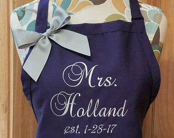 Personalized Apron Monogrammed Apron Personalized Gift for Bride