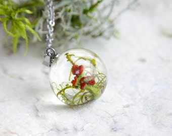 British soldiers lichen Necklace - handmade resin jewelry - whimsical woodland sphere pendant