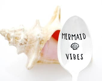 Mermaid Vibes. Stamped Spoon. Mermaid Decor. Beach Lovers Gift.