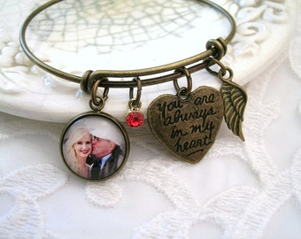Custom Photo Charm Bracelet Always in My Heart Memory Brass Bracelet Bronze Bangle Bracelet ADD Angel Wing, Handwriting charm, Heart Charm