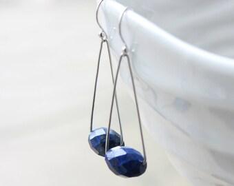 Lapis Lazuli Earrings, Sterling Silver, cobalt blue gemstone, modern artisan earrings, original dangle earrings, December birthstone, gift