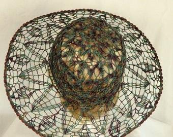 Crocheted wide-brimmed hat Summer bohemian floppy hats Crochet cotton sun hat Women derby hats Victorian garden party hats Beach lace hat