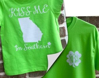 St Patricks Day Shirt, Kiss Me I'm Southern, Girls St Patty's Day Shirt, Monogrammed Shirt, Monogrammed St. Patrick's Day Shirt