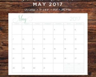 May 2017 Calendar | May 2017 | May | Calendar | Printable Calendar | Printable | Monthly Calendar | 2017 | Instant Download