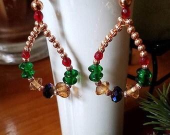 Hoop Earrings, Boho Earrings, Copper Earrings, Boho Jewelry, Gypsy Style Earrings, Long Earrings, Beaded Earrings, Multi Color Earrings