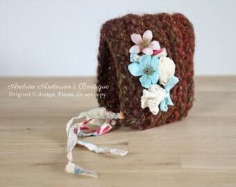 Newborn Girls Hat. Baby Bonnet. Newborn Bonnet. Baby Hat. Flower Hat. Crochet Pixie Hat. Ready to Ship Newborn Photography Prop. UK SELLER
