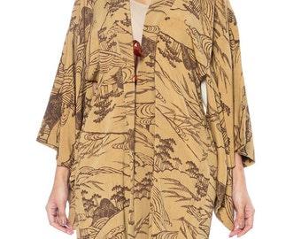 Brown Kimono With Landscape Print Size: 16